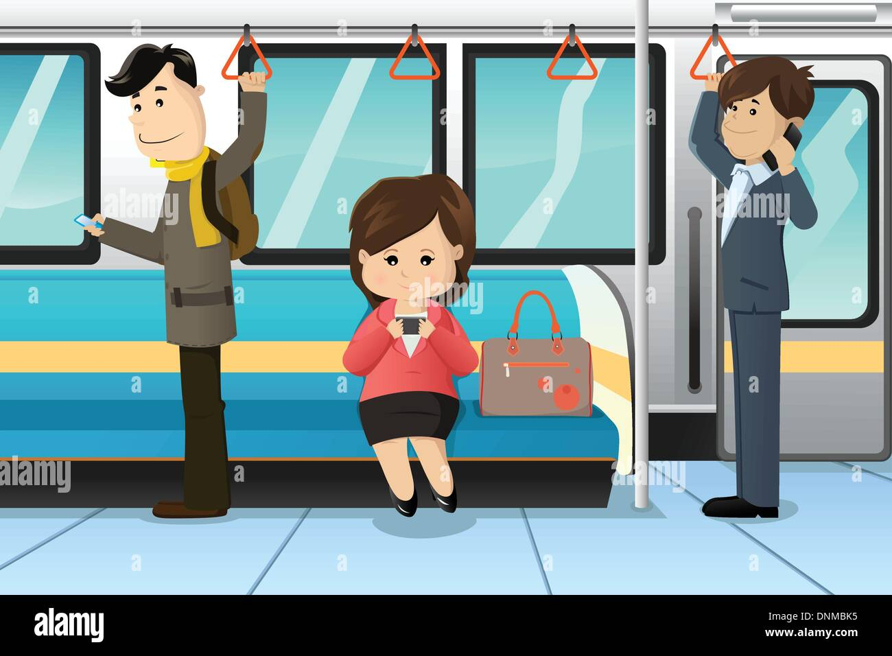 A vector illustration of peoples using cell phones in a train - Stock Image