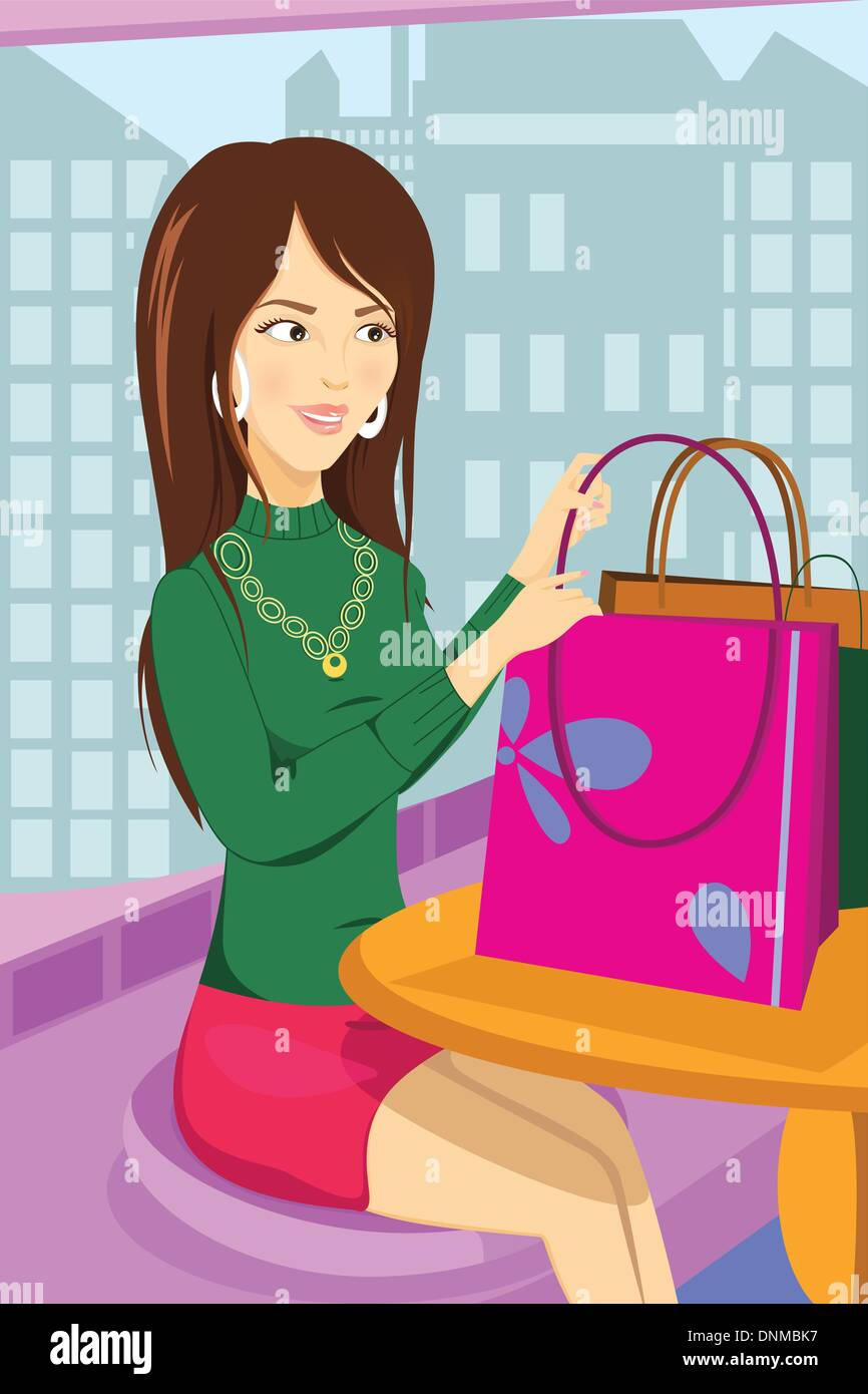 A vector illustration of a shopping woman sitting at a cafe - Stock Vector