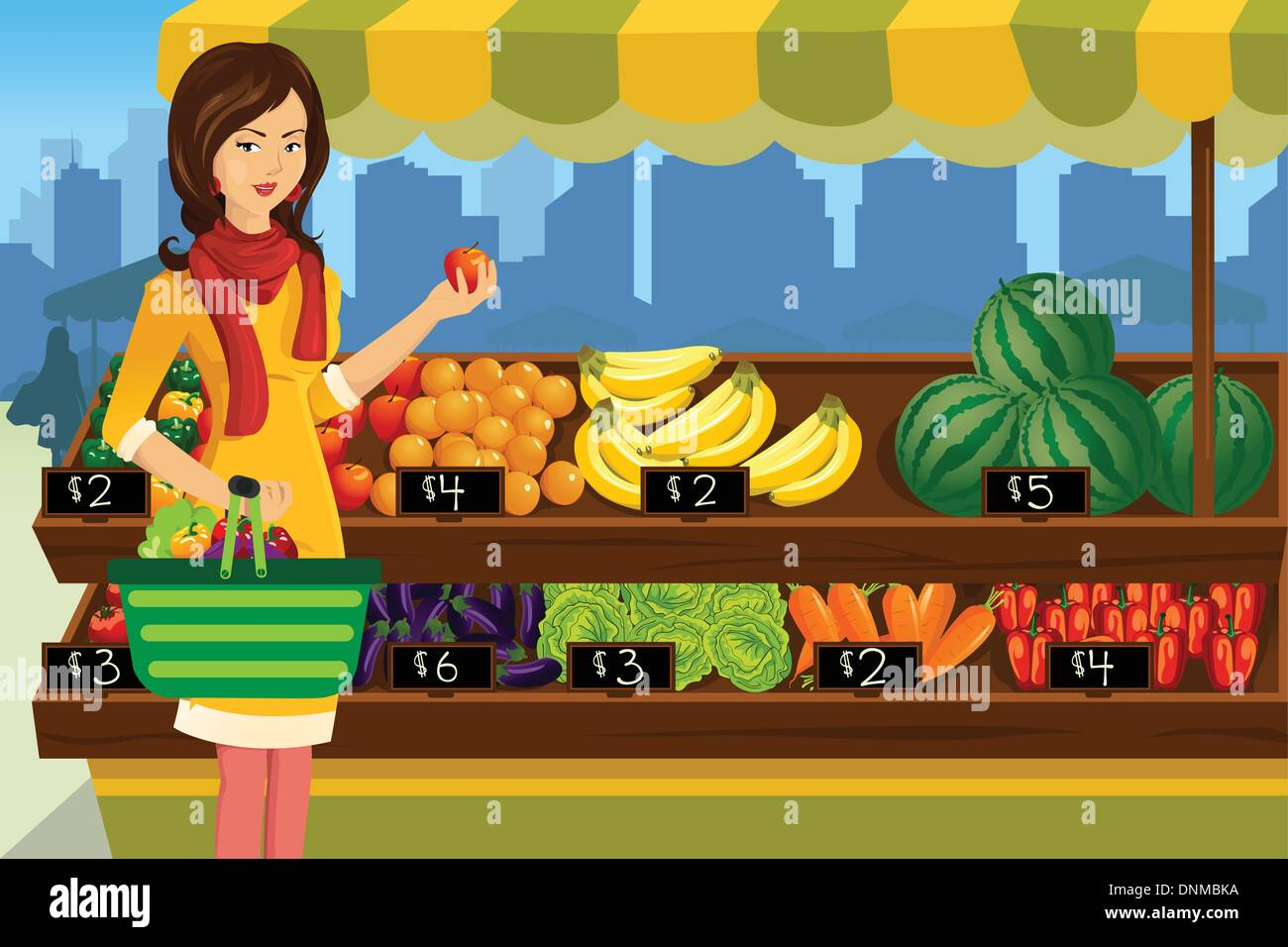 A vector illustration of beautiful woman shopping in an outdoor farmers market - Stock Vector