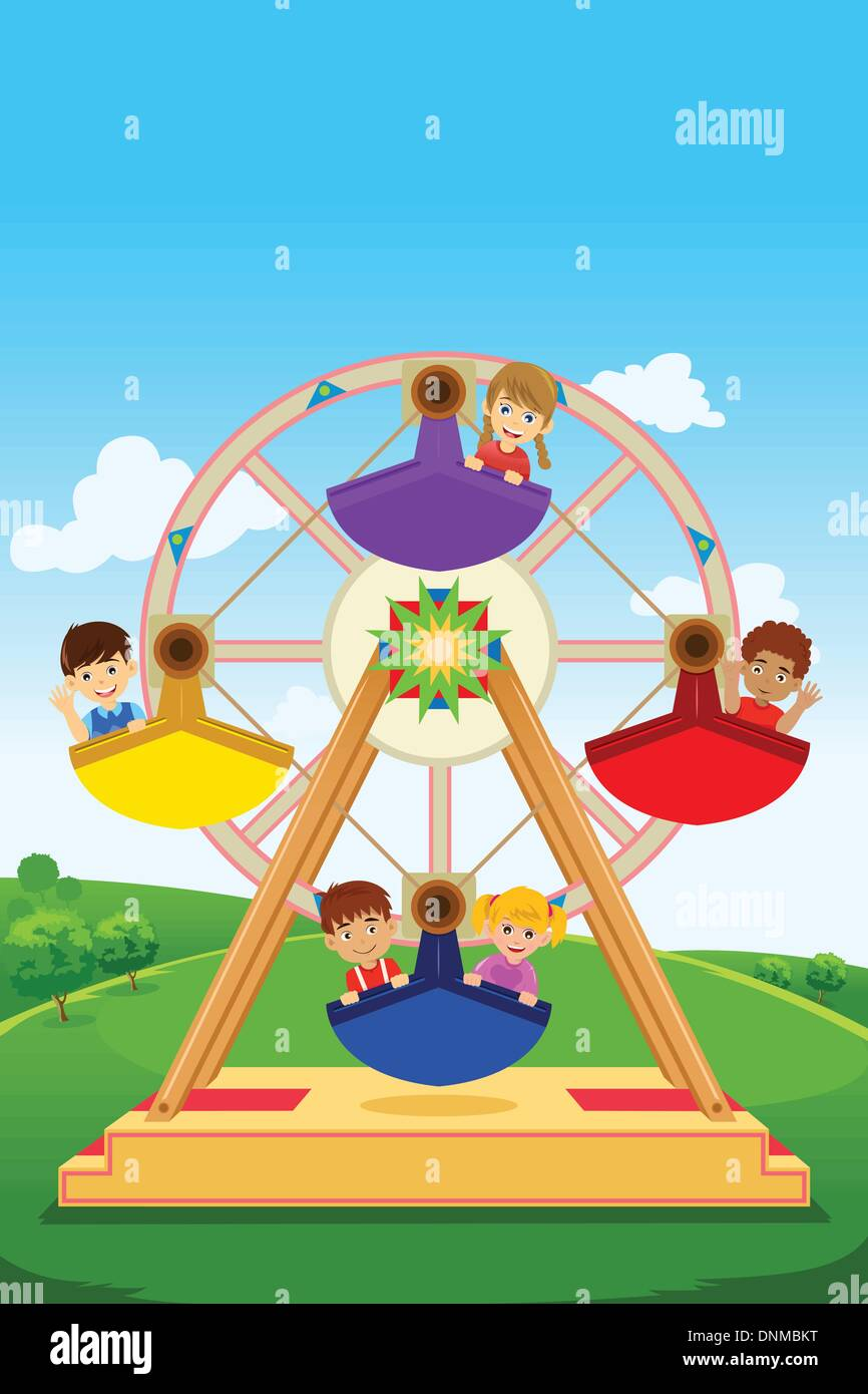 A vector illustration of happy kids riding a ferris wheel - Stock Vector