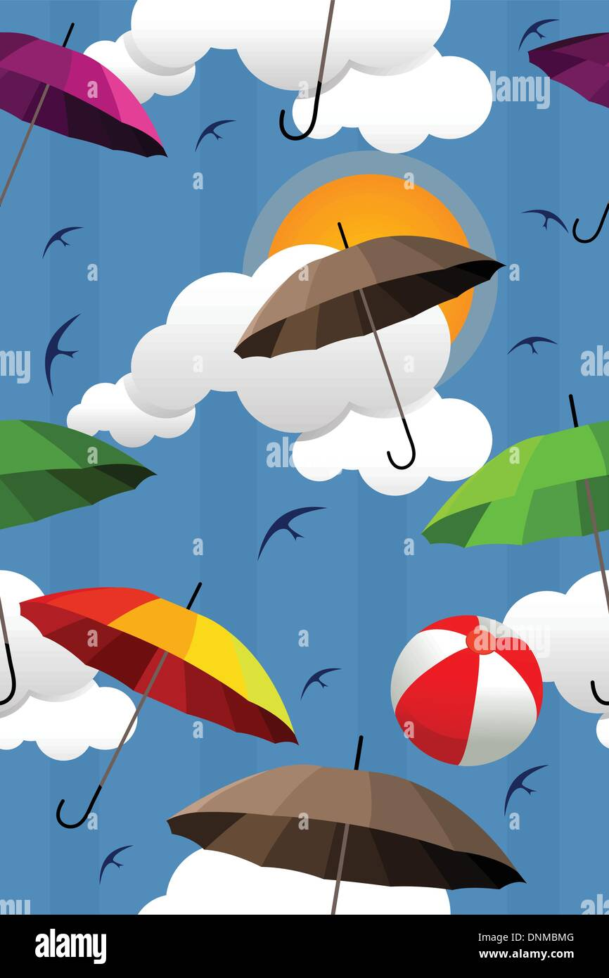 A Vector Illustration Of Wallpaper With Colorful Umbrella Pattern
