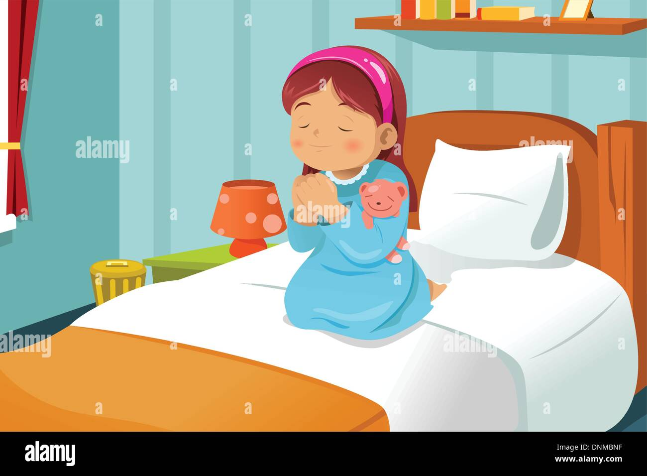 a vector illustration cute little girl praying before going to bed