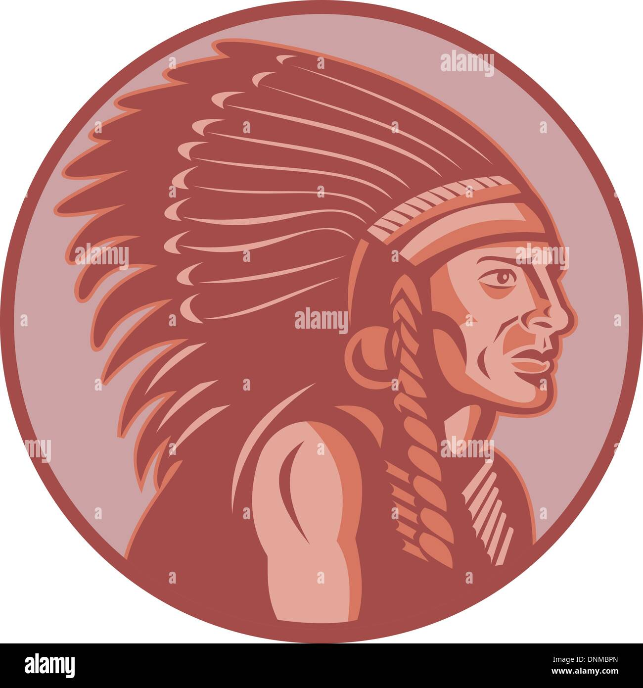 vector illustration of a native american indian chief side view done in retro style - Stock Image