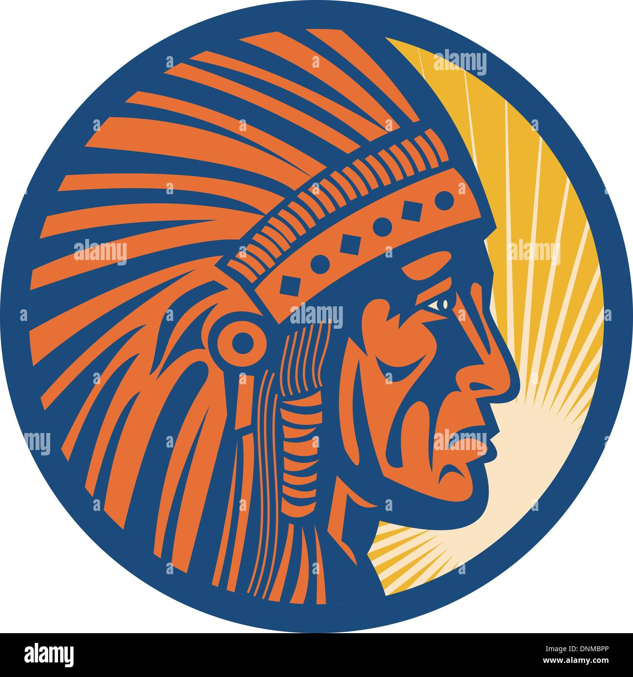 illustration of a native american indian chief warrior side view - Stock Image