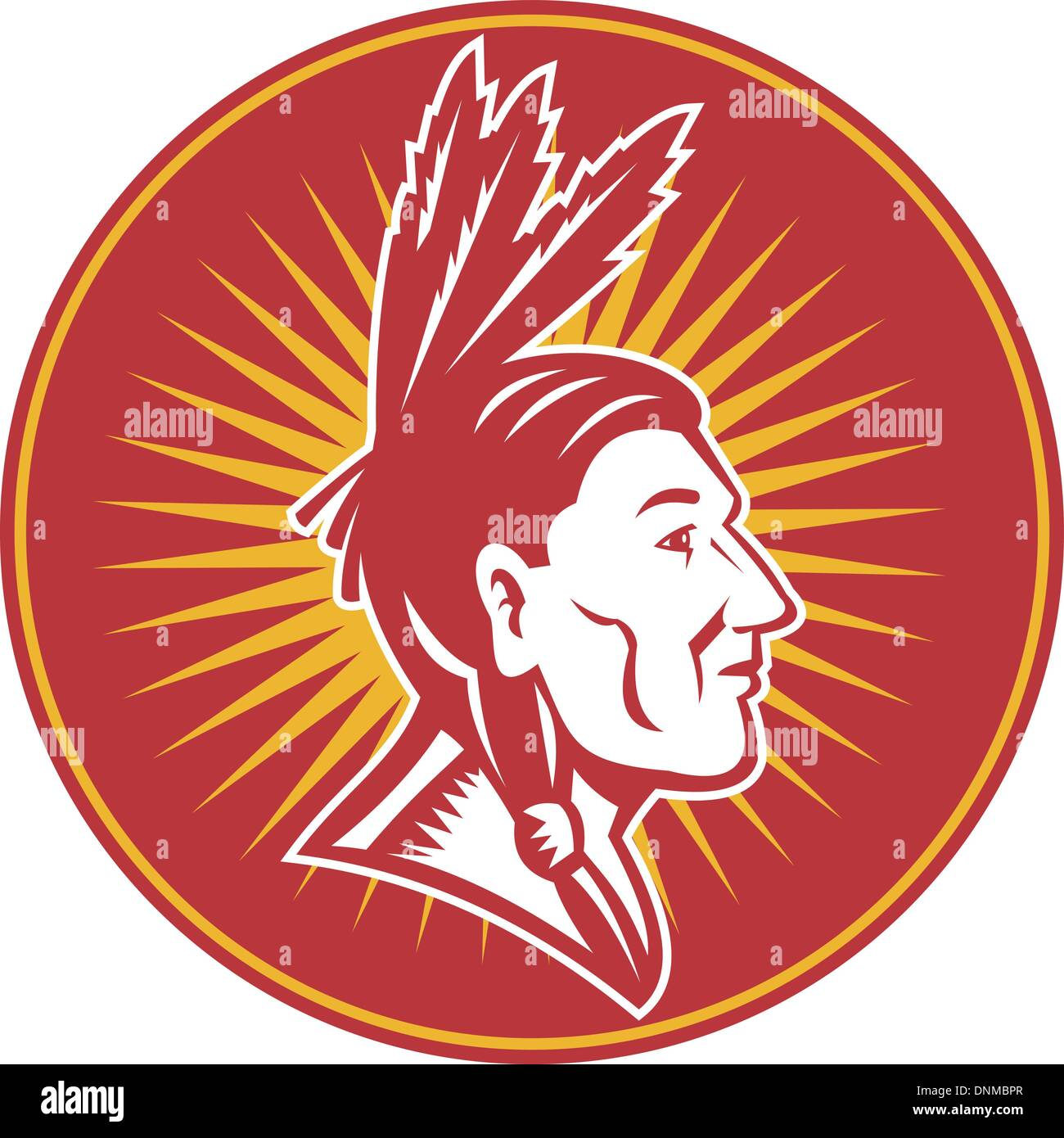 illustration of an native American indian chief with three feathers side view - Stock Image