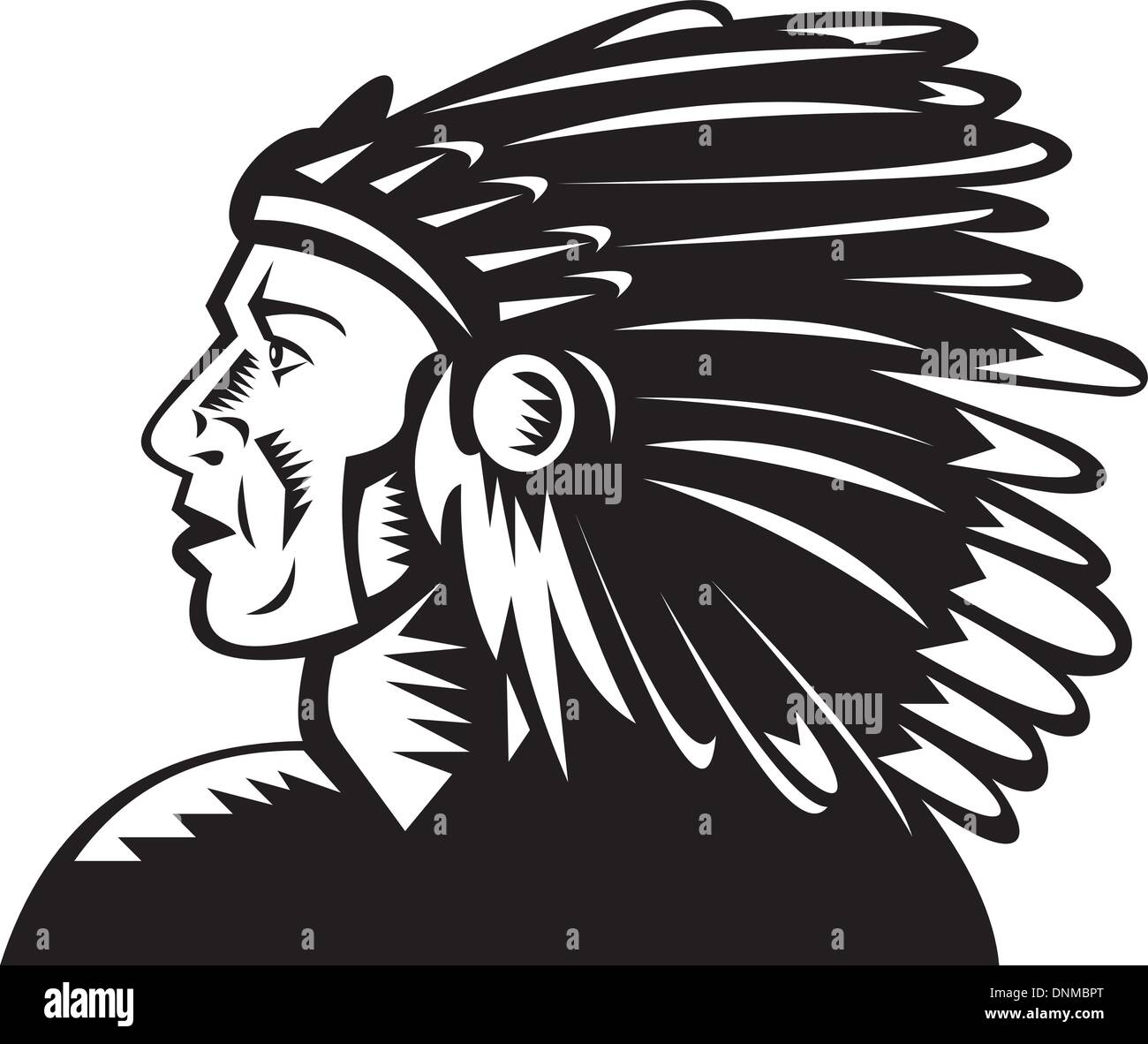 illustration of a native american indian chief with headdress - Stock Image