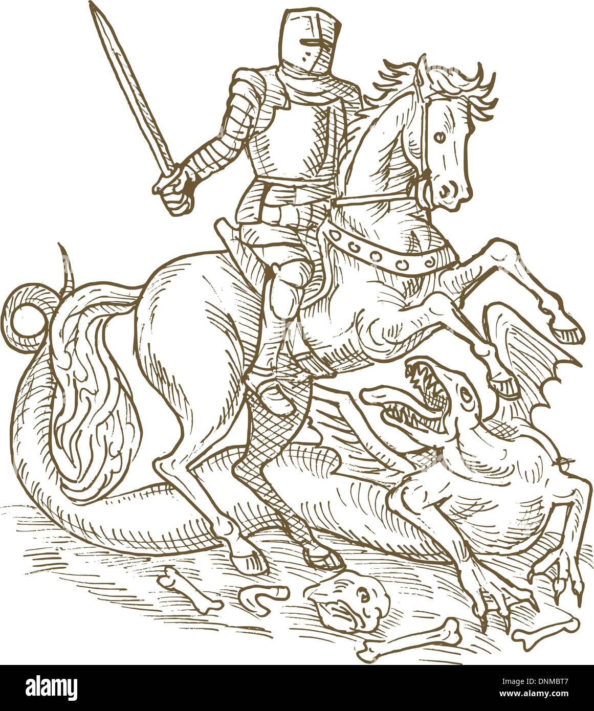 drawing of Saint George knight and the dragon done in black and white - Stock Vector