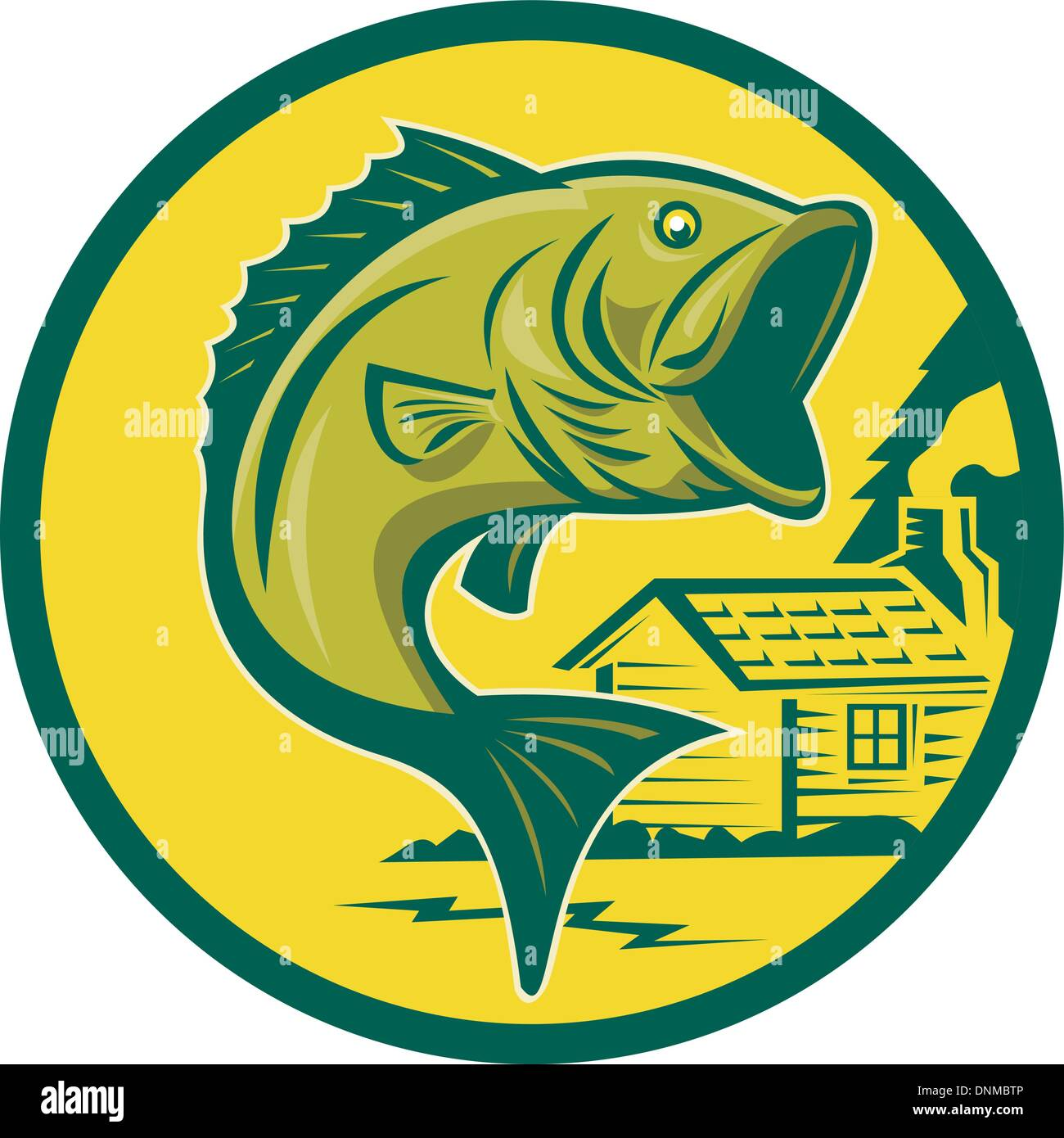 illustration of a largemouth bass fish jumping set inside circle with log cabin in background background done in retro style - Stock Vector