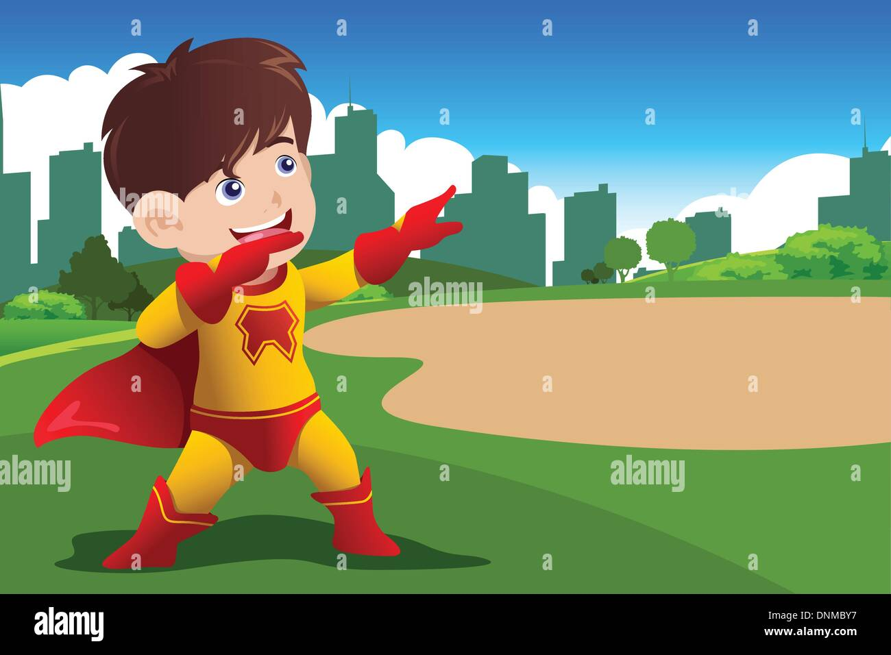 A vector illustration of boy in superhero costume - Stock Image