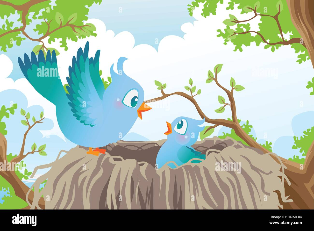 A vector illustration of birds in the nest - Stock Image