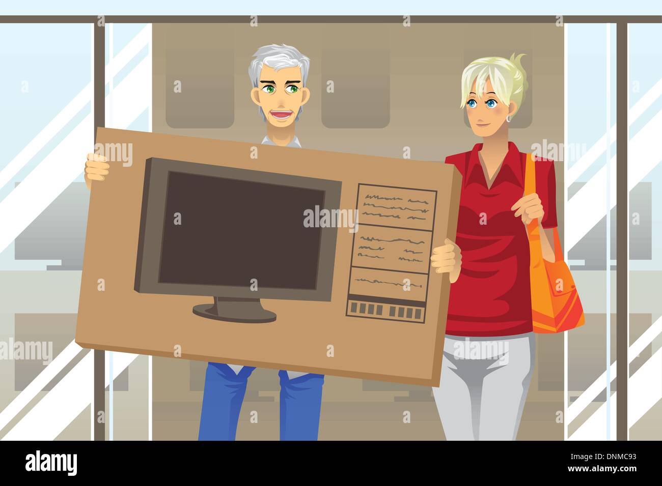 A vector illustration of a mature couple buying a big screen television - Stock Image