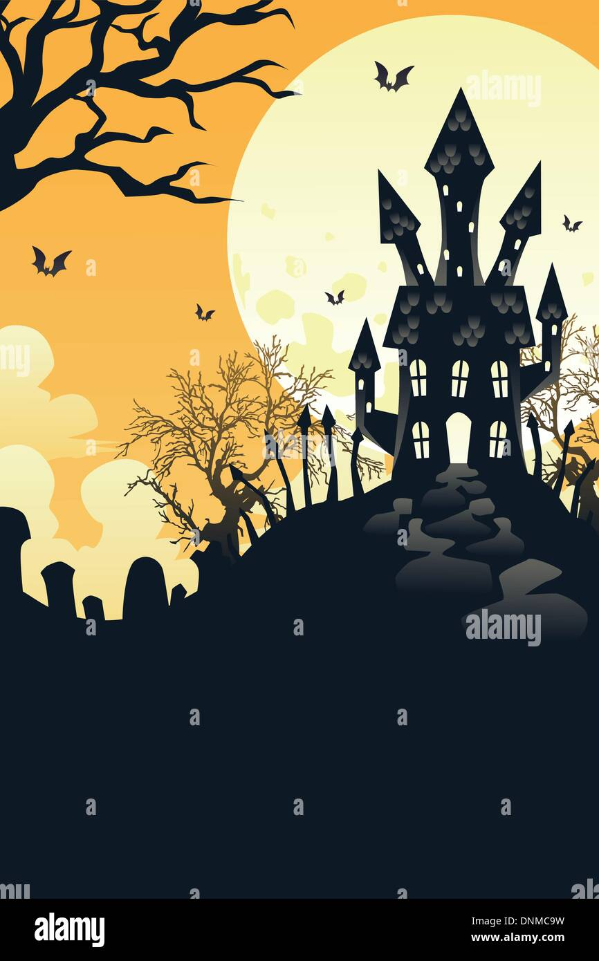 A vector illustration of Halloween holiday background - Stock Image