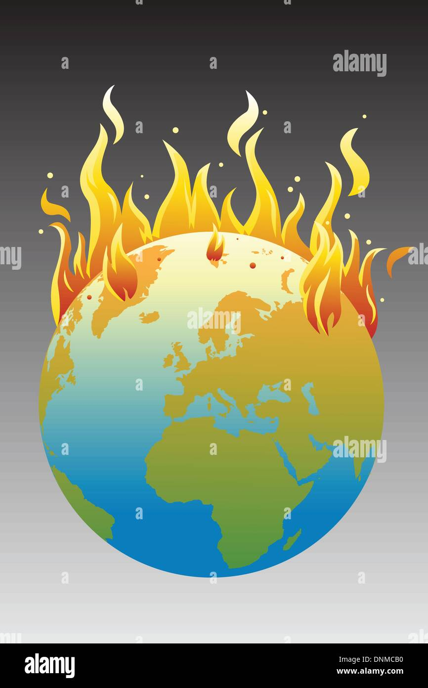 A vector illustration of the burning earth, a global warming concept - Stock Vector