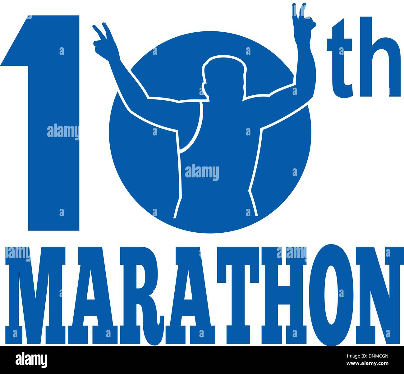 illustration of a silhouette of Marathon runner flashing victory hand sign done in retro style set inside circle with words 10th marathon - Stock Vector