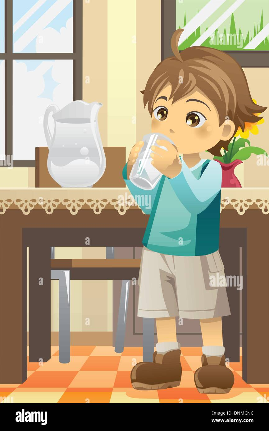 child drinking water stock vector images - alamy