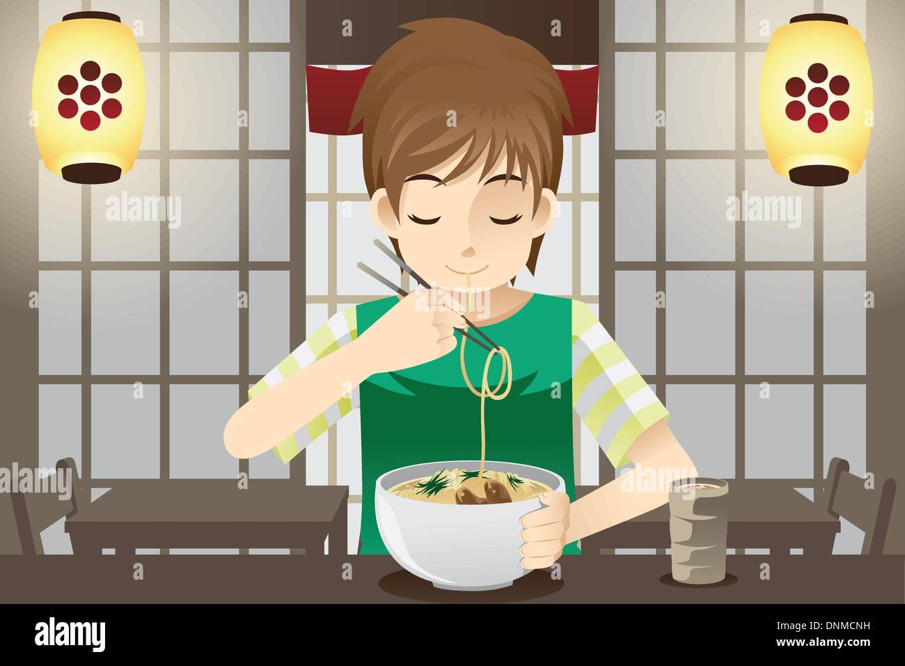 A vector illustration of a boy eating a bowl of noodles - Stock Vector