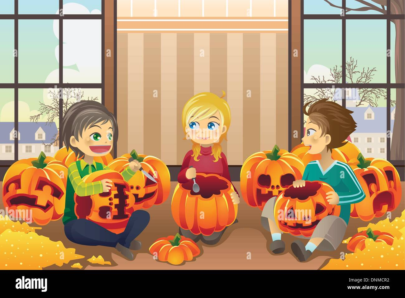 A vector illustration of kids carving pumpkins together at home - Stock Vector