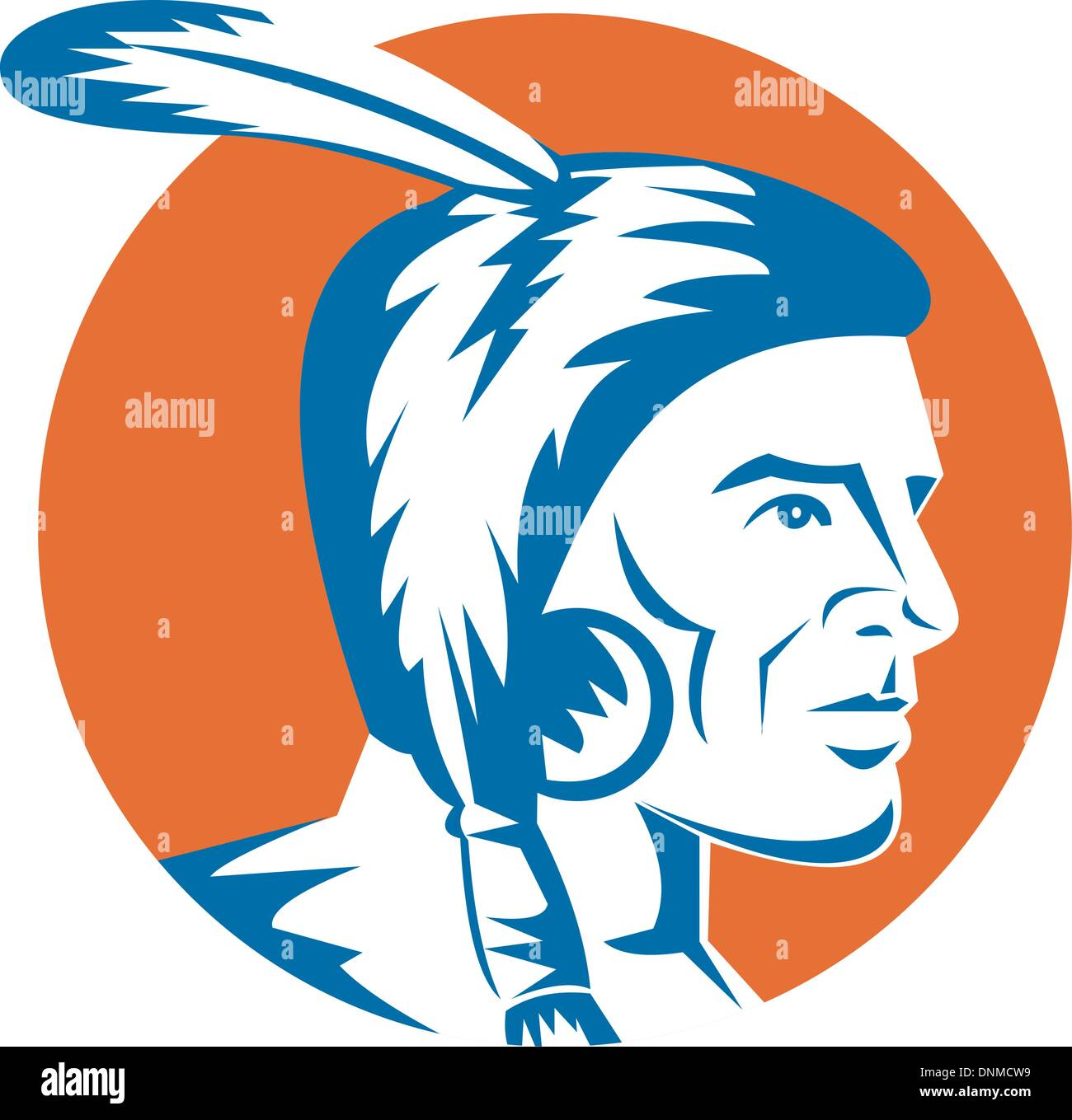 illustration of a native american indian looking to the side - Stock Image