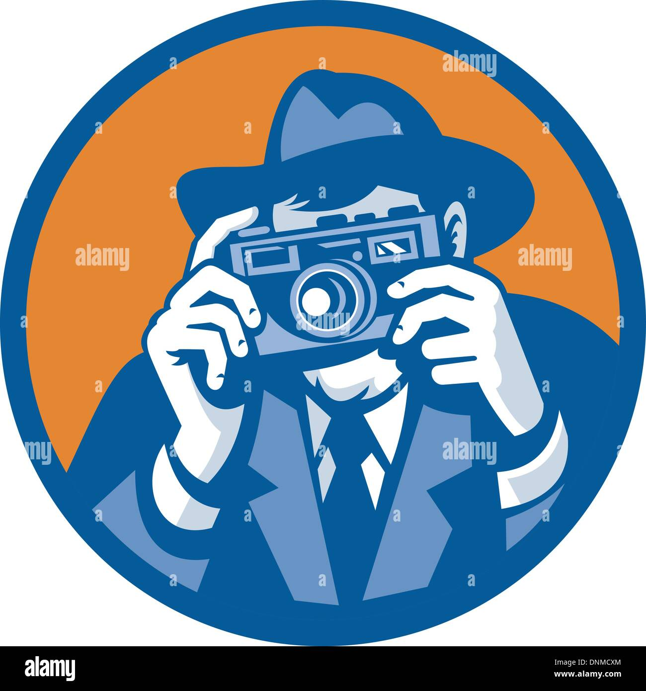 illustration of a Photographer with fedora hat aiming retro slr camera done in retro style Stock Vector