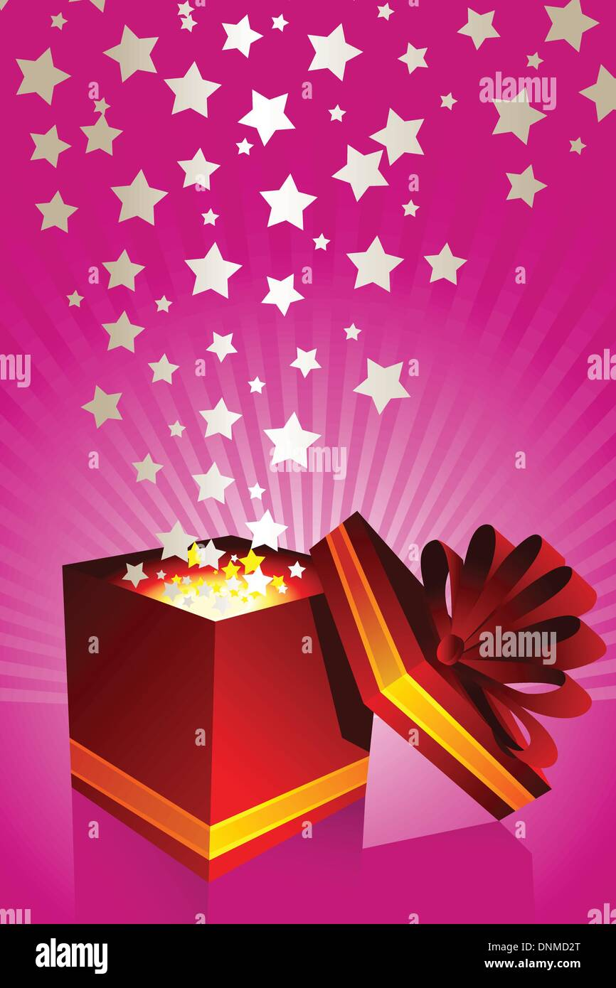 A vector illustration of an opened gift box - Stock Image