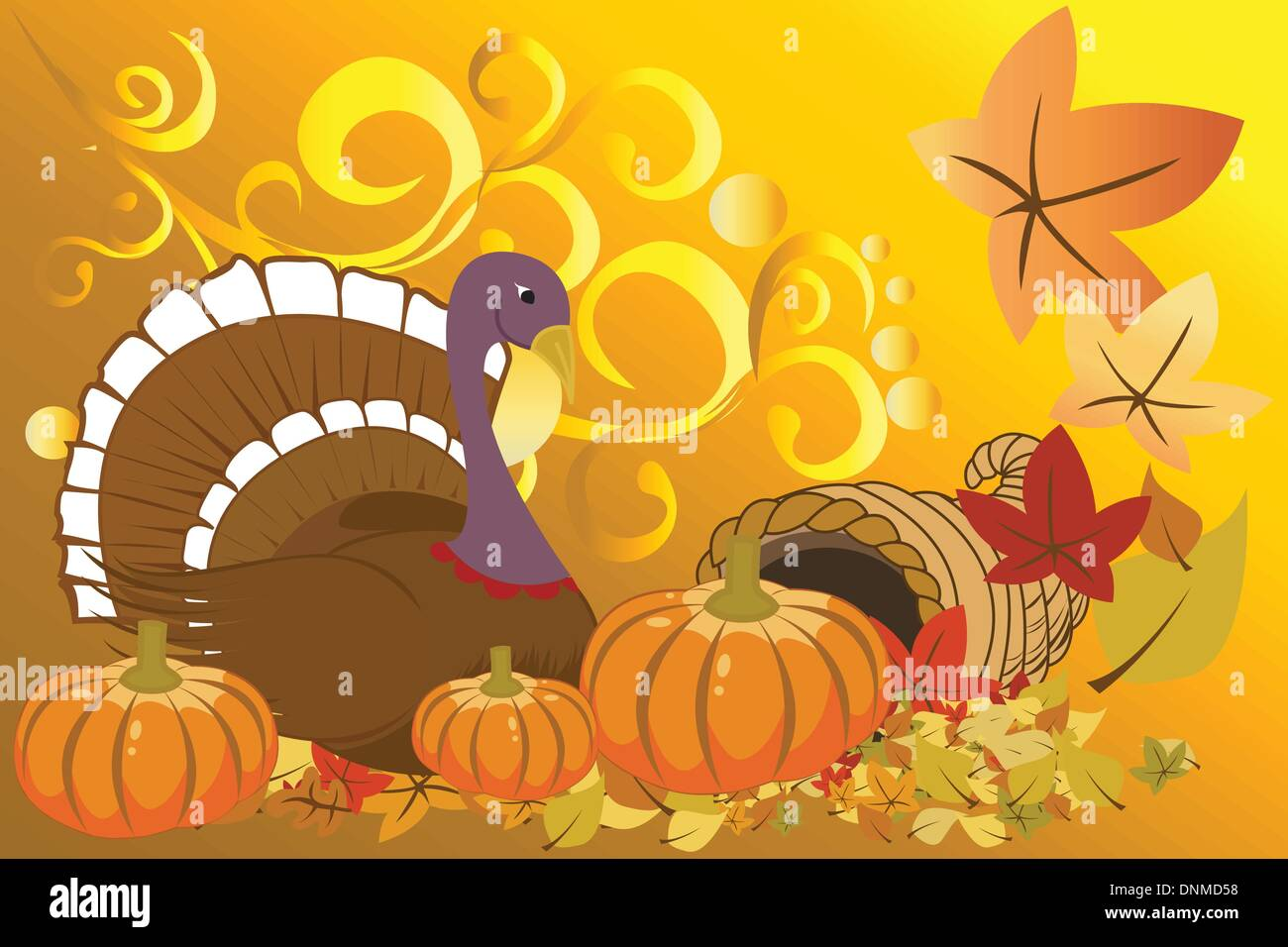 Vector illustration of turkey and pumpkins for Thanksgiving celebration - Stock Vector