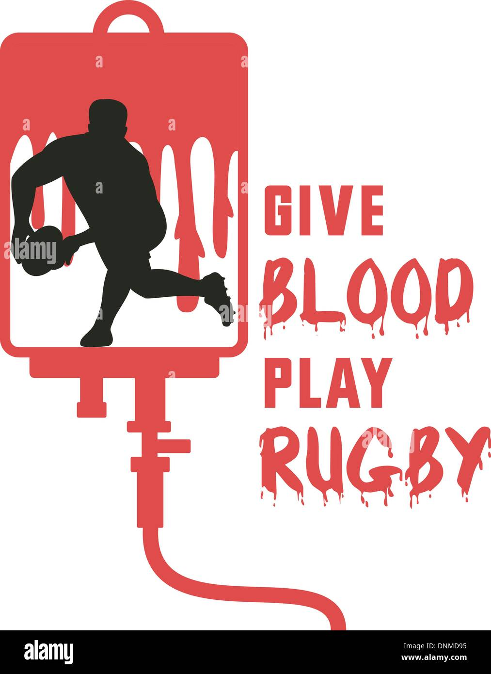 illustration of a Rugby player passing ball facing front silhouette with blood dripping in iv drip dextrose background with words give blood play rugby'' - Stock Vector