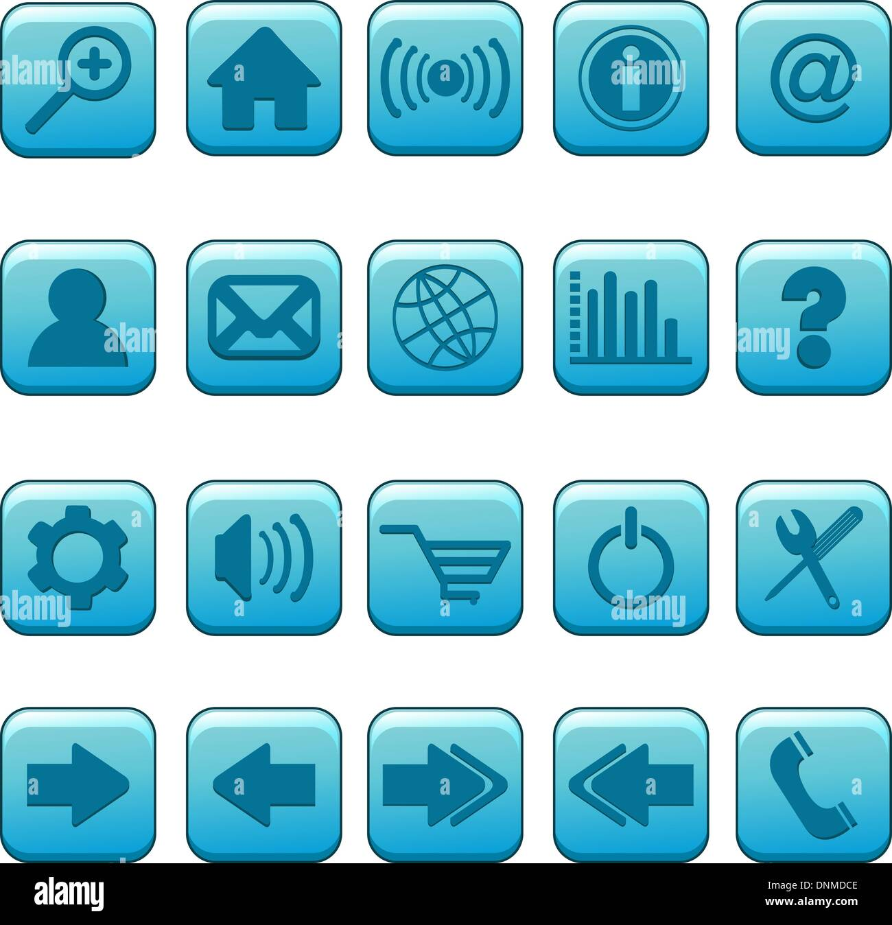 A vector illustration of a set of icons for websites - Stock Image
