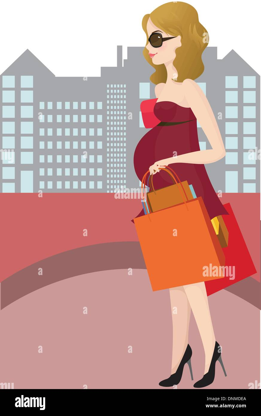A vector illustration of a pregnant woman going shopping - Stock Image