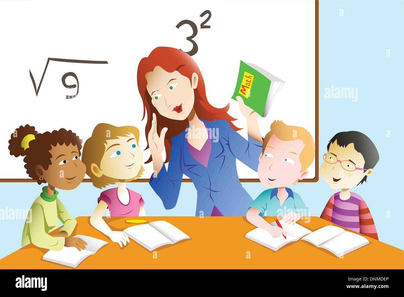 A vector illustration of kids studying math in classroom with teacher - Stock Image