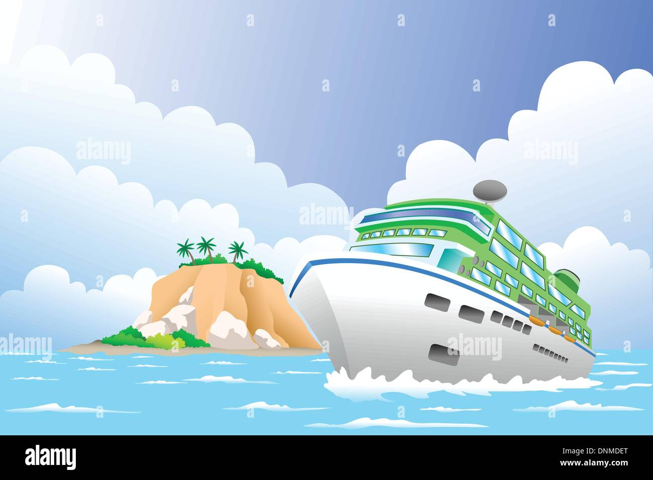 A vector illustration of luxury cruise ship in the sea for travel concept - Stock Vector