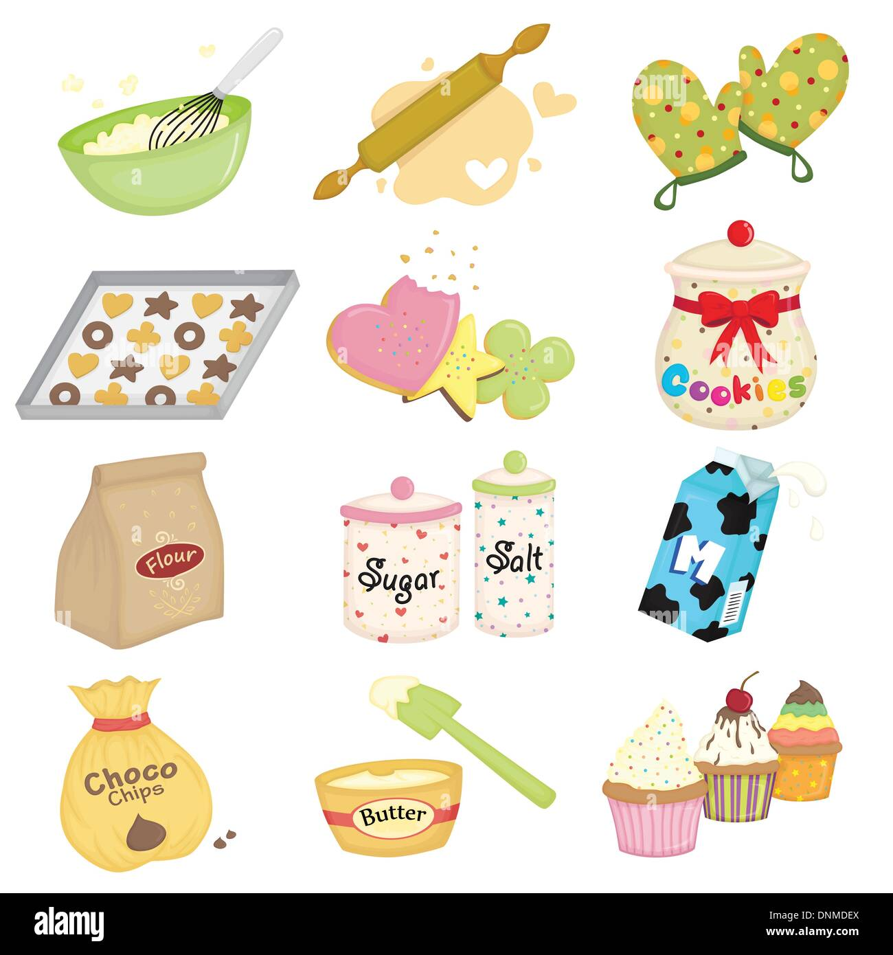 A vector illustration of baking and kitchen utensils icons - Stock Vector
