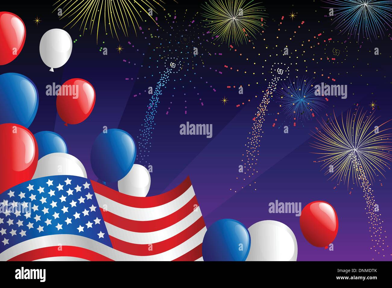 A vector illustration of Fourth of July fireworks celebration Stock Vector