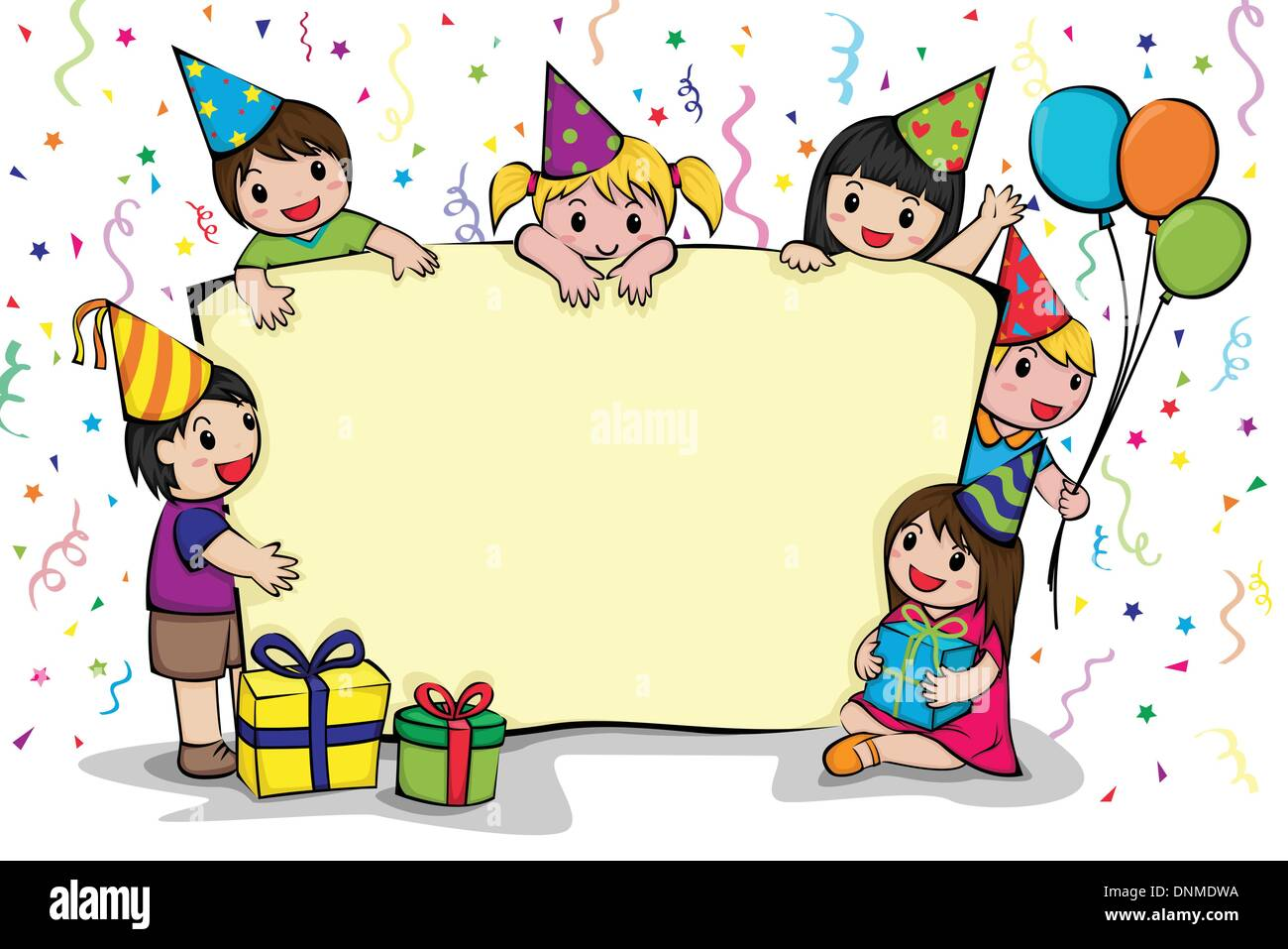 A Vector Illustration Of A Birthday Party Invitation Card