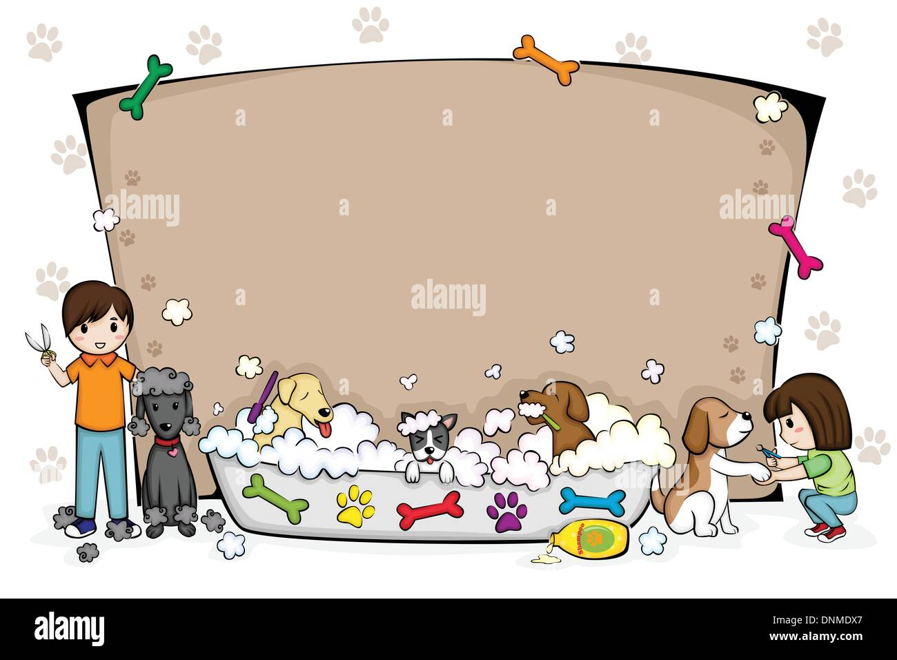 A vector illustration of a pets grooming salon banner - Stock Image