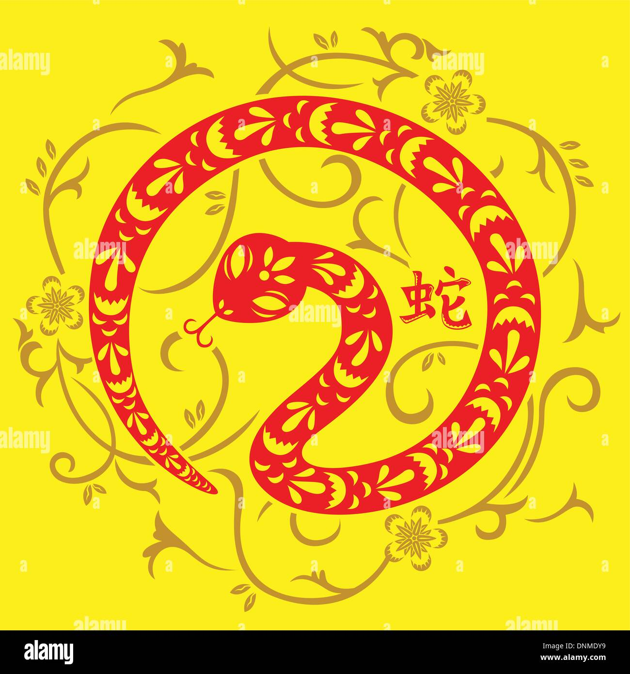 A vector illustration of Year of Snake design for Chinese New Year celebration - Stock Image