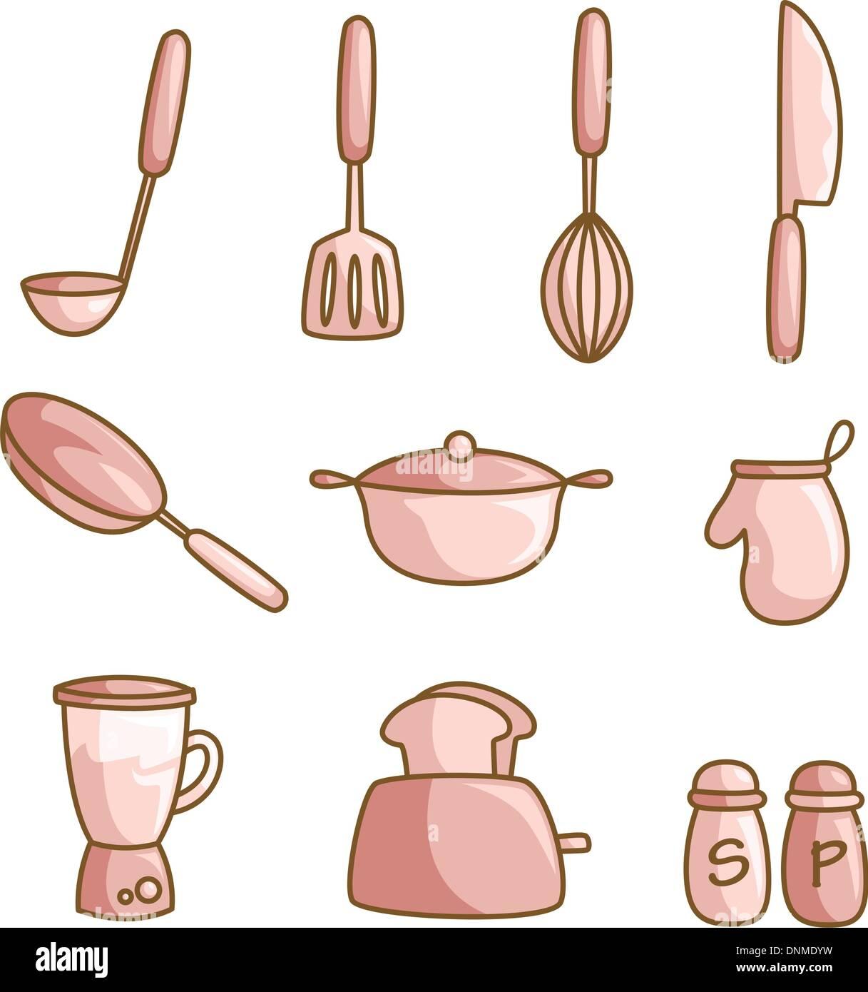 Kitchen Utensils Icons Set Cartoon Stock Photos Kitchen Utensils