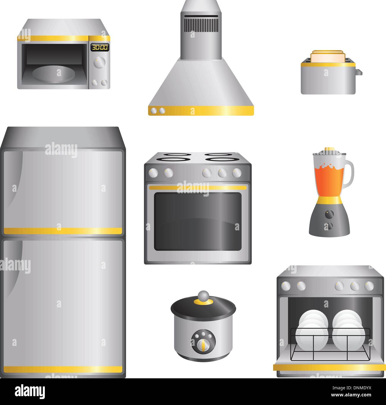 A vector illustration of a set of kitchen appliances - Stock Image