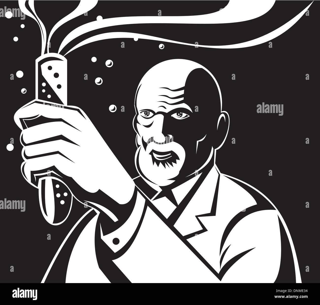 Illustration of a mad scientist holding up a test tube done in retro style. - Stock Vector