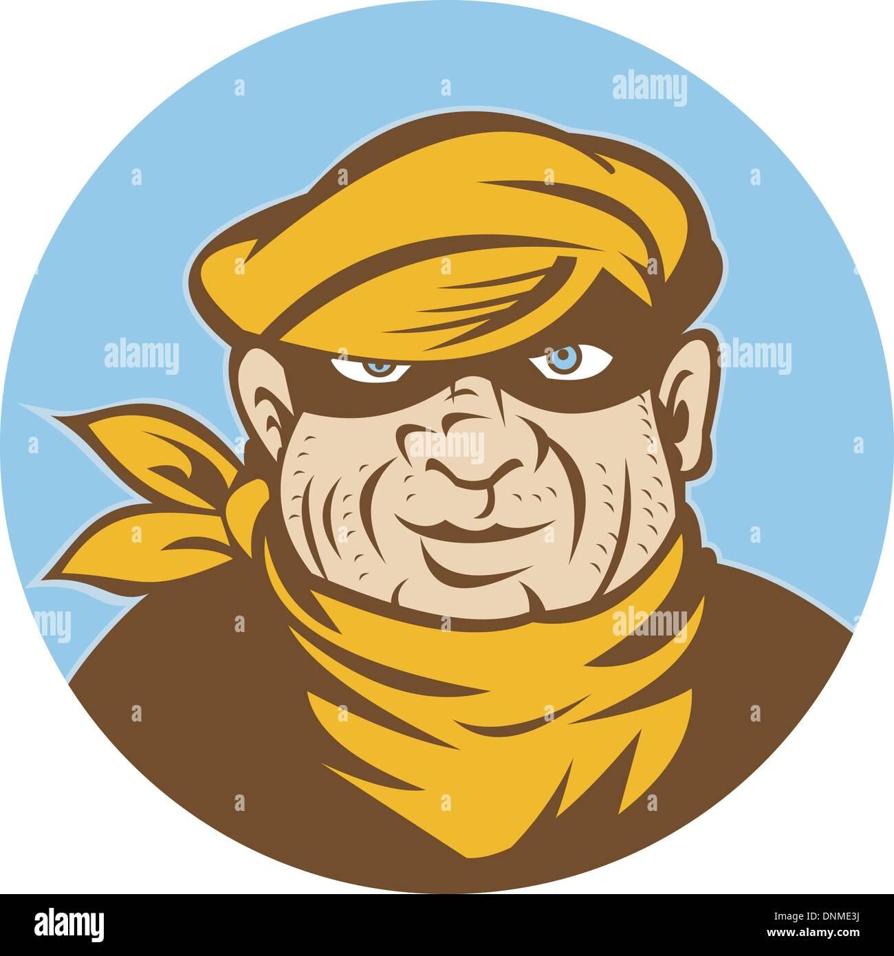 illustration of a Burglar thief or mugger looking at you set inside a circle - Stock Vector