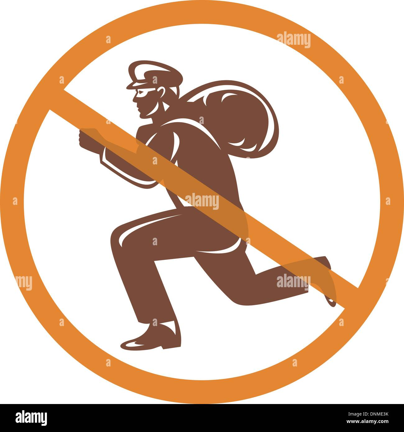 illustration of a Sign of a burglar or thief running with loot inside a crossed circle - Stock Vector