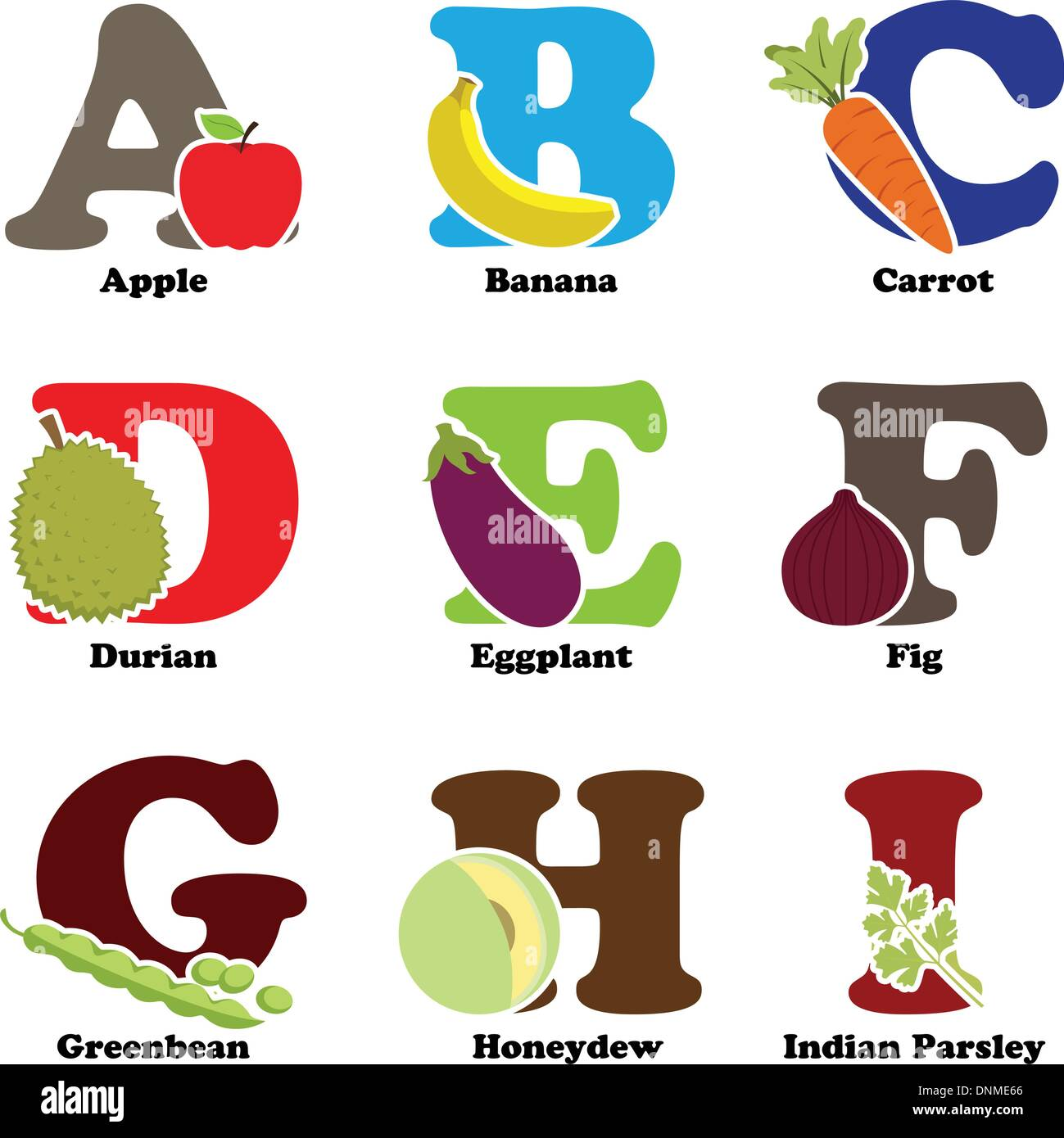 A vector illustration of fruit and vegetables in