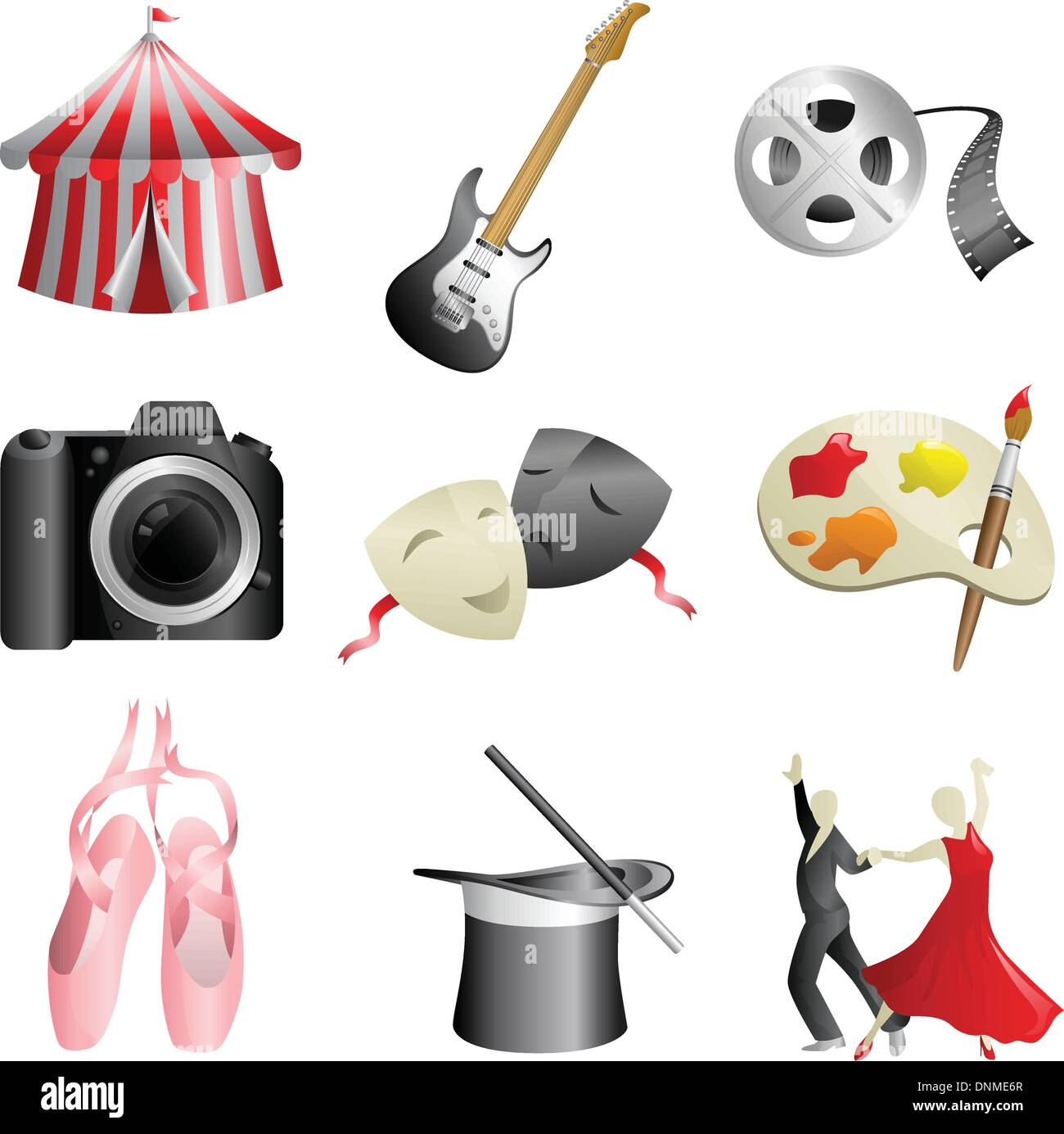 A vector illustration of arts and entertainment icons - Stock Image