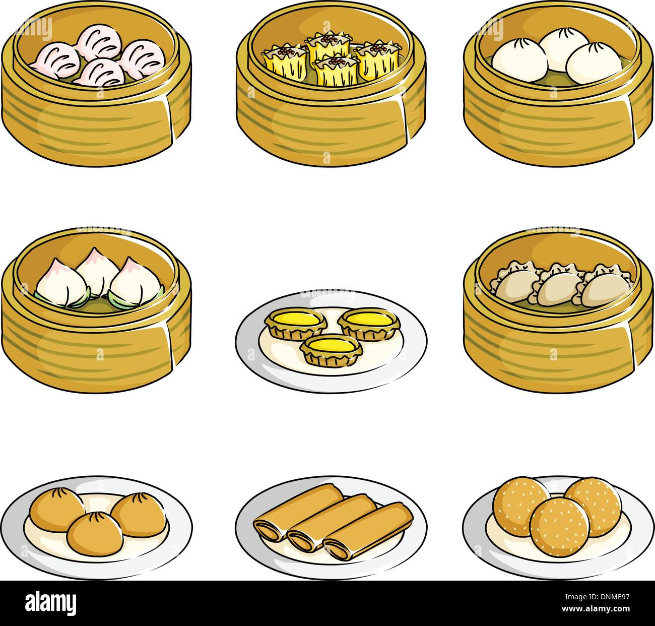 A Vector Illustration Of Chinese Dim Sum Icons Stock Vector Image Art Alamy