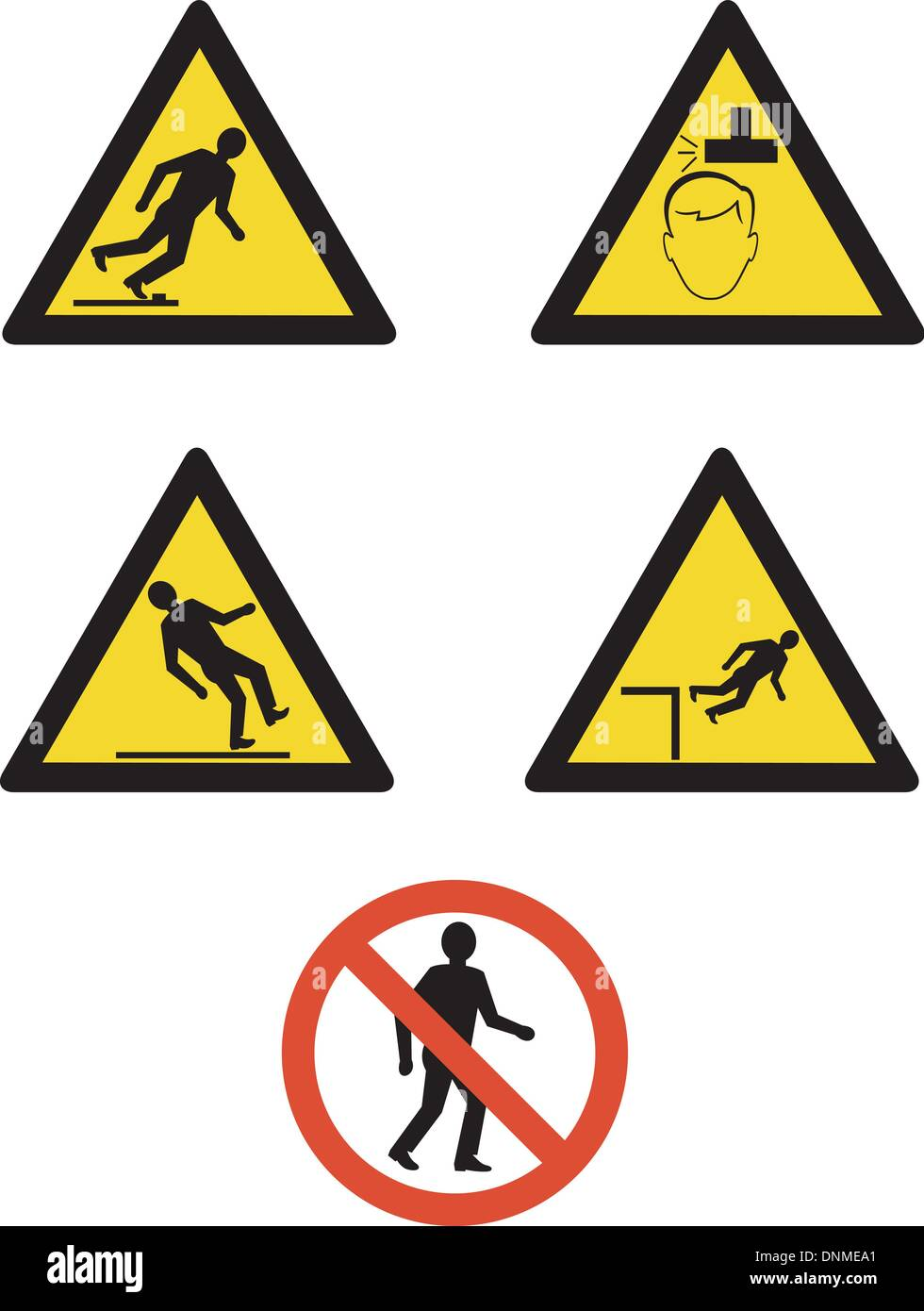 illustration of workplace signs showing warning, slippery surface,low head room area,dangerous areas on isolated white background - Stock Vector
