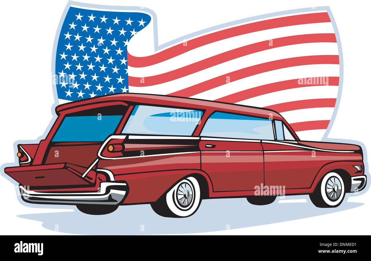 graphic design illustration of a 1950's styled station wagon isolated on white viewed from low angle done in retro   style - Stock Vector