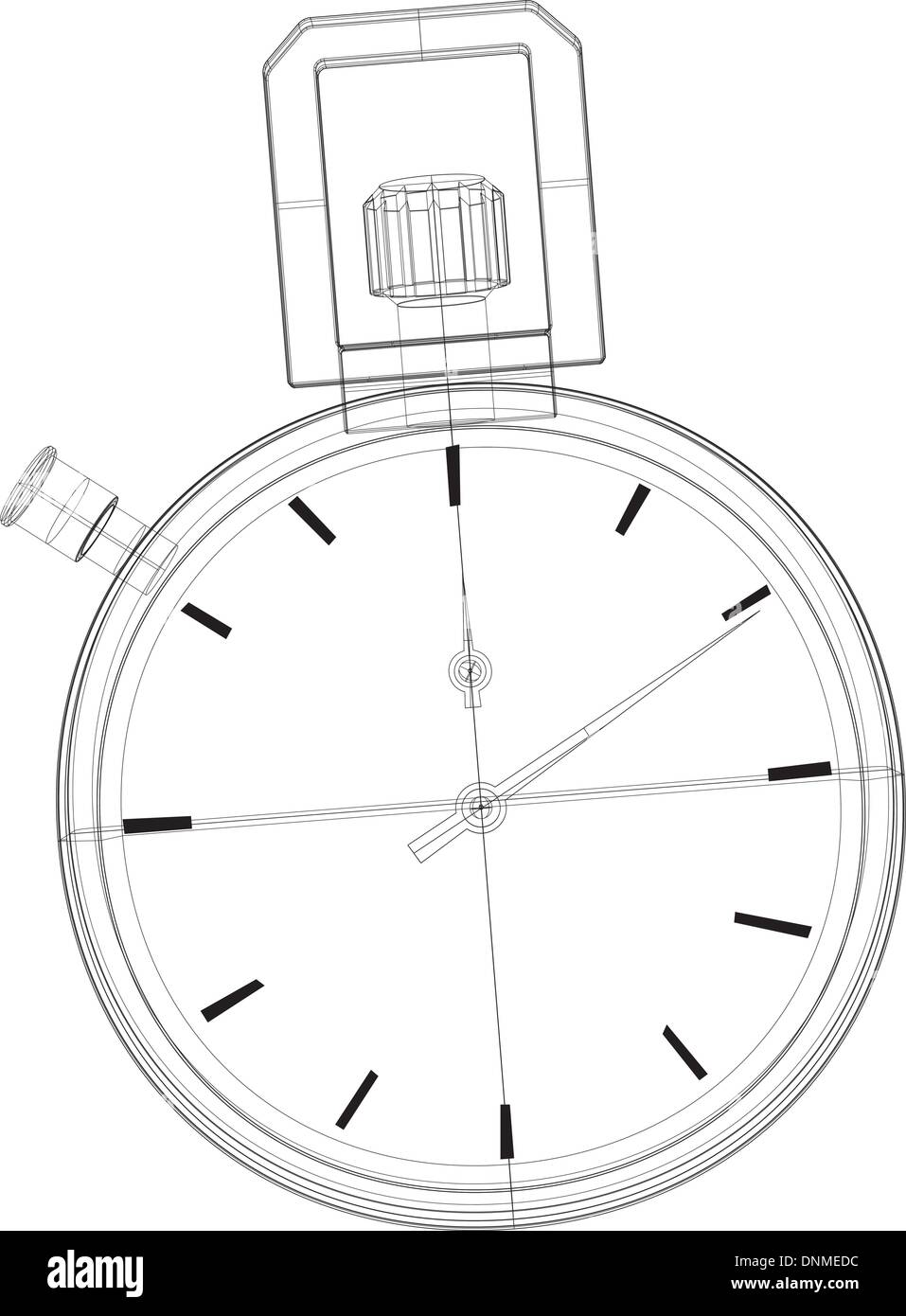 Illustration of stopwatch wireframe line drawing front view. - Stock Image