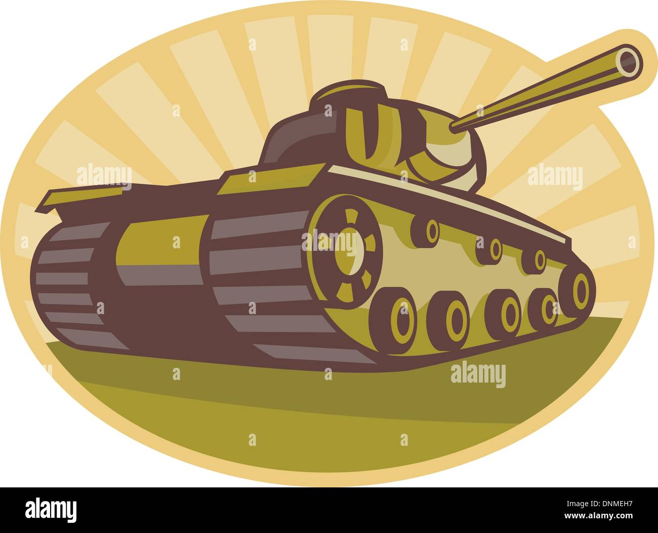 illustration of a world war two battle tank aiming cannon to side with sunburst in background done in retro style - Stock Vector