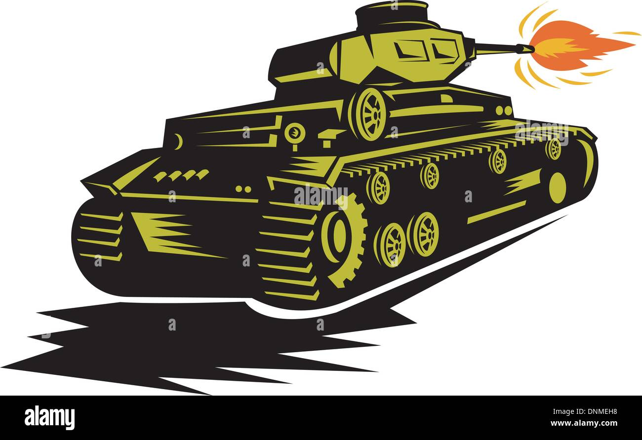 illustration of a world war two battle tank firing its cannon - Stock Vector