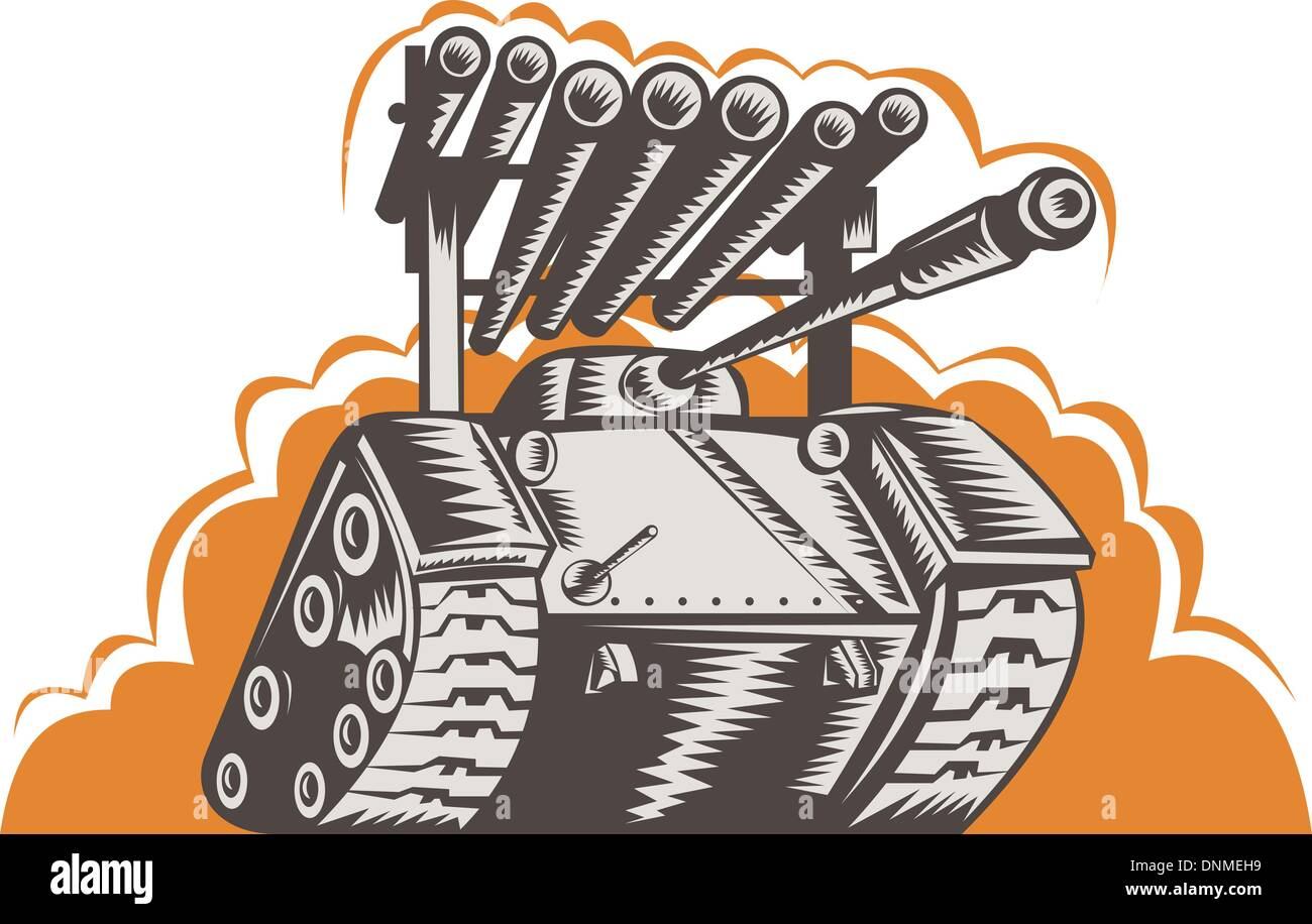 illustration of a Battle tank with rocket launcher - Stock Vector