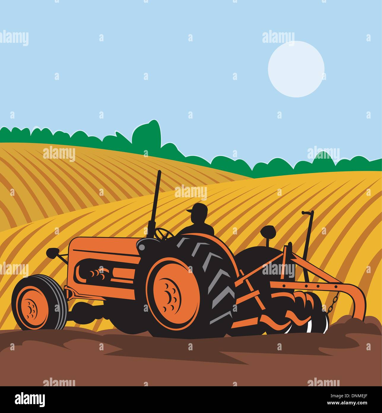 Illustration Of A Vintage Tractor With Farmer Driving In